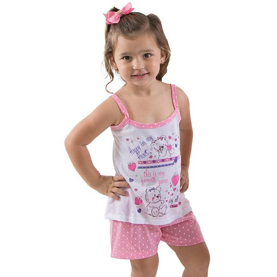 db30d4d1f9 Baby Doll Infantil Tal mãe Tal Filha (Filha) Linha Noite Feminina - Branco+