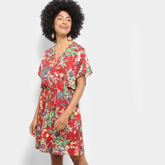 a7e2a3226 Vestido Jasmim Estampado Floral Cantão Feminino - Vermelho | Zattini