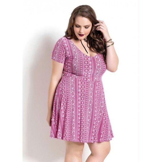 5d723e15c Vestido Manga Curta Quintess Étnico Plus Size - Estampado | Zattini