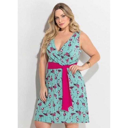 dd4efd680 Vestido Plus Size Transpassado Flamingo Quintess - Estampado