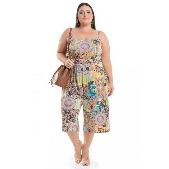 7ad207d9165c Macacão Pantacourt Viscolycra Estampado Miss Masy Plus Size - Estampado.  Loading.