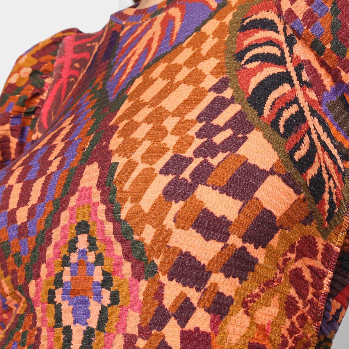 Blusa Cropped Farm Tapeçaria Animal Feminina