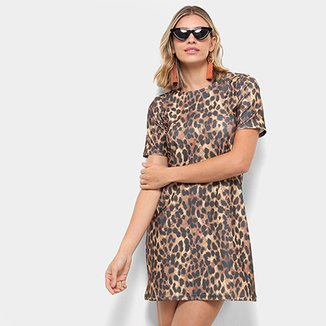 1ae558015d Vestido Flora Zuu Dress T-shirt Animal Print Onça