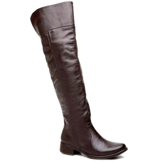 4ed701bba Bota Over The Knee Couro Cla Cle - Cafe | Zattini