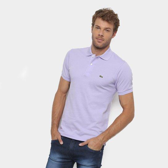 ae880e927b102 Camisa Polo Lacoste Original Fit Masculina - Lilás - Compre Agora ...