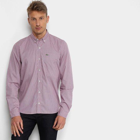 Camisa Lacoste Xadrez Masculina - Lilás - Compre Agora   Zattini f557b7b865