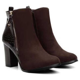 9746db6fa Bota Atron Shoes Cano Curto Florenza Zíper Lateral Feminina