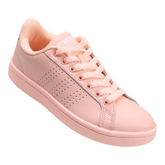 85a40c98e4f Tênis Couro Adidas Cf Advantage Clean Feminino - Coral - Compre ...