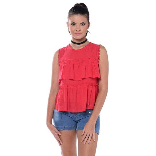 af2dfc7362488 Blusa Teen Regata com Renda - Coral - Compre Agora   Zattini