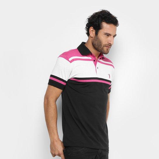 Camisa Polo Aleatory Malha Fio Tinto Masculina - Rosa Escuro+Branco 543daab27e36d
