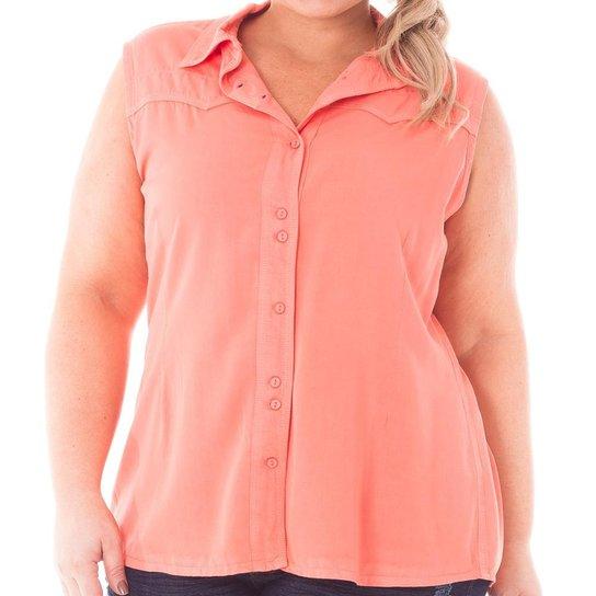 Camisa Confidencial Extra Plus Size Regata de Sarja com Botões Feminina -  Coral d9277b87797