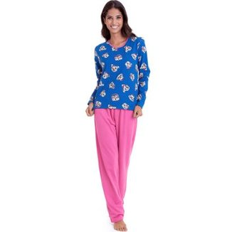 238781569b Pijama Longo de Moletinho Luna Cuore Feminino