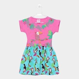 1c5cc6cf1f Vestido Infantil For Girl Curto Evasê Estampa Tucano