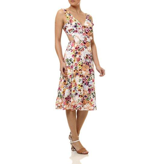 4e6fbda1bb Vestido Médio Feminino Autentique Coral rosa branco - Coral