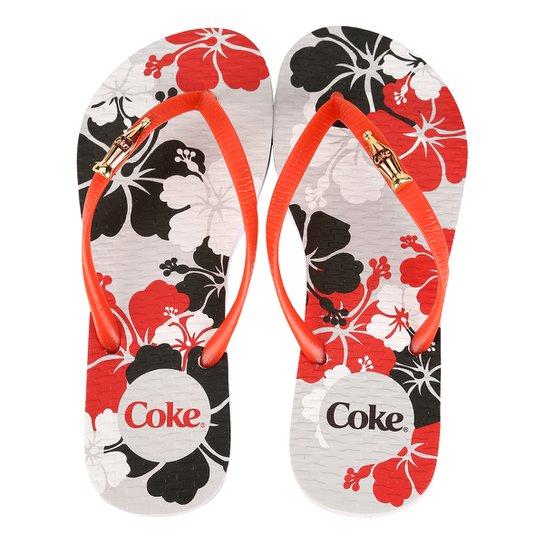 6b7e83a3f Chinelo Coca-Cola Hibiscus - Branco+Vermelho