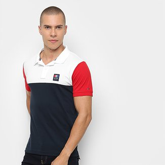 Camisa Polo Tommy Hilfiger Color Block Slim Feminina 8e3d6cd7676ba