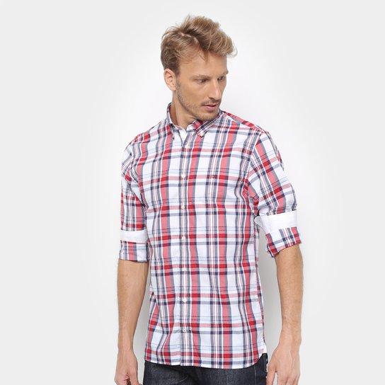Camisa Tommy Hilfiger Masculino Midscale Check Masculina - Branco+Vermelho 884df98a429