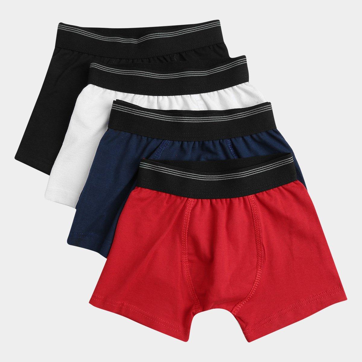 ddc3b7ee463 Kit De Cueca Boxer Infantil UNW Elástico Listras 4 Peças