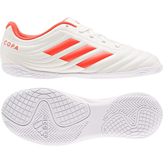a0eb45efc4 Chuteira Futsal Infantil Adidas Copa 19 4 IN - Branco e Vermelho ...