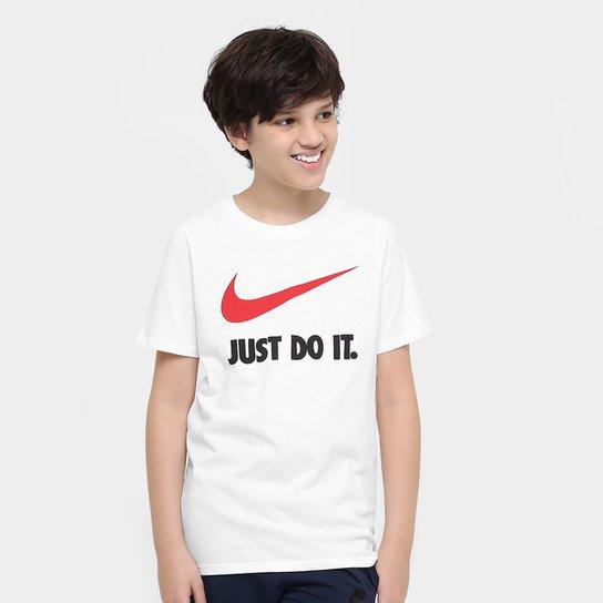 Camiseta Infantil Nike Jdi Swoosh Tee Yth - Branco e Vermelho ... 1ecfc1f2e008d