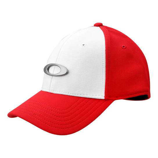 Boné Oakley Aba Curva Tincan Masculino - Branco e Vermelho - Compre ... 9603c7a55eb