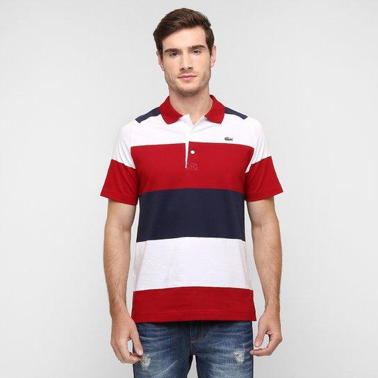 67726d9be053a Camisa Polo Lacoste Listrada - Branco+Vermelho