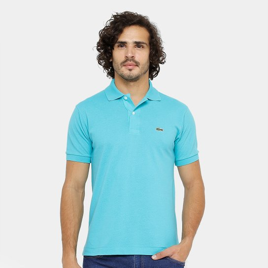 Camisa Polo Lacoste Piquet Original Fit Masculina - Azul Turquesa ... dbc21c6c72