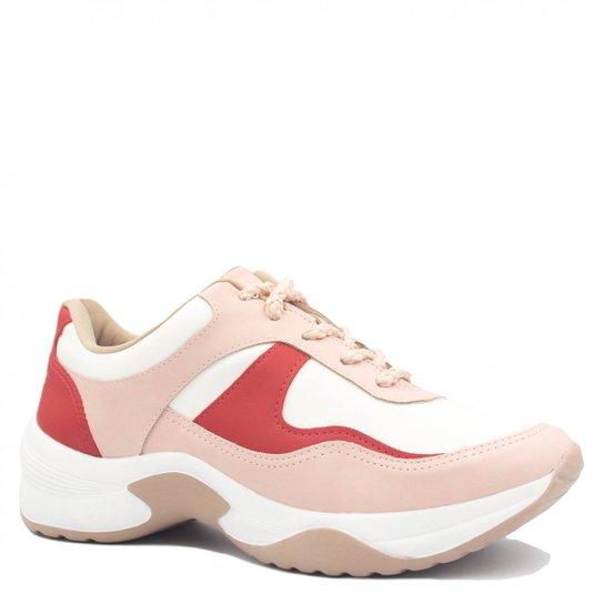 0b6f69bd35 Tênis Sneaker Dakota Chunky Recortes Feminino - Branco e Vermelho ...