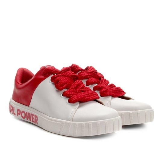e056284388 Tênis Moleca Girl Power Feminino - Branco e Vermelho - Compre Agora ...