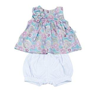 0820c115e4 Conjunto Bebê Vestido Cetim Algodão Estampado Fr