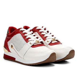 ceb5a6f85e Tênis Couro Jorge Bischoff Jogging Perfuros Croco Metalizado Feminino