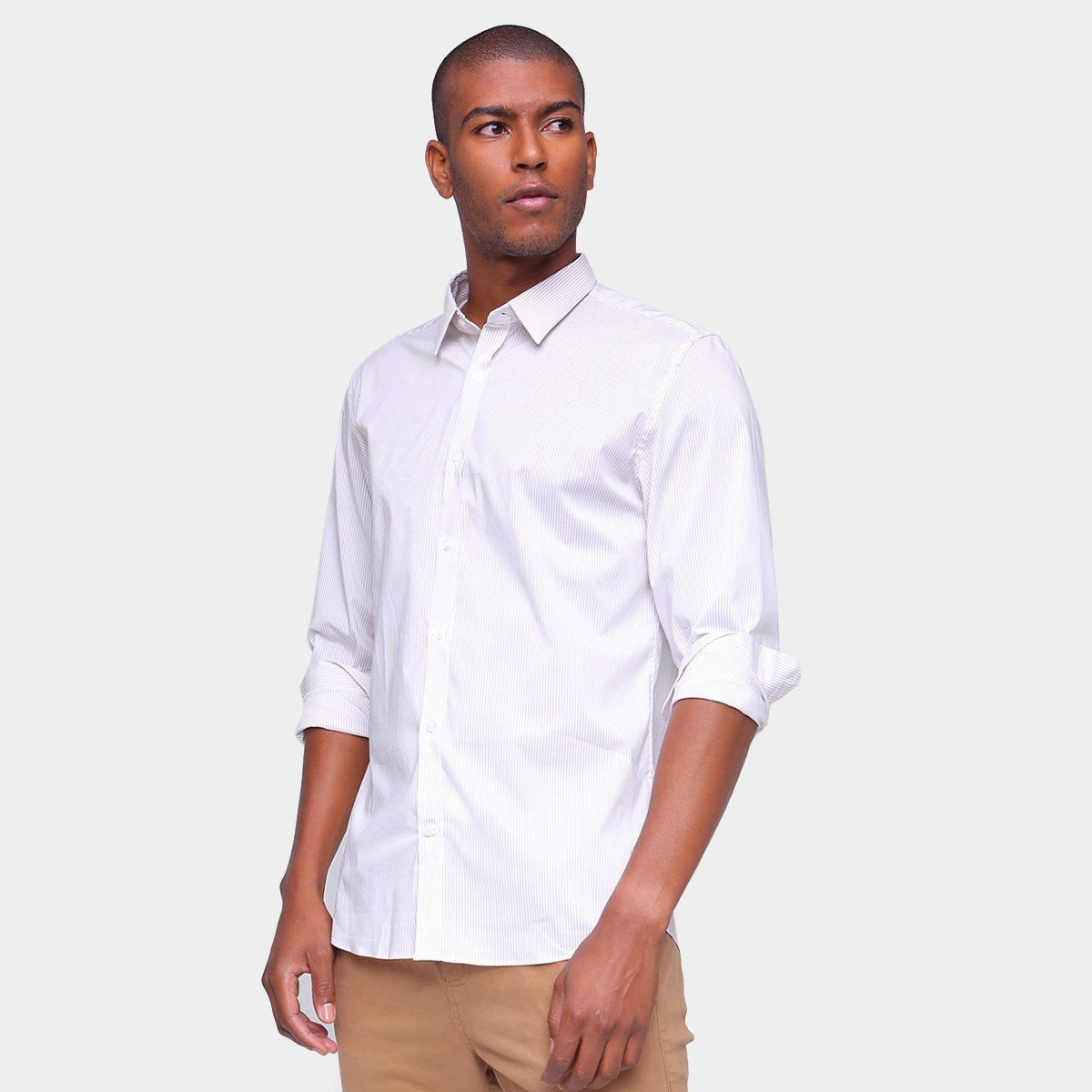 Camisa Manga Longa Foxton Tecnologica Listrada Masculina