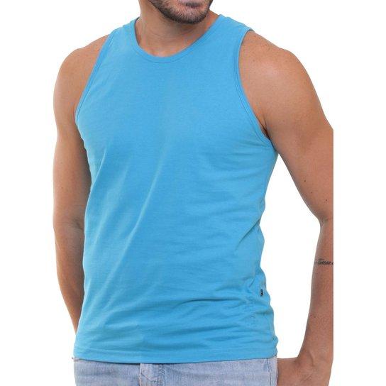 c542f1a5d Camiseta Regata Masculina Oitavo Ato Lisa Básica Mescla - Azul Turquesa