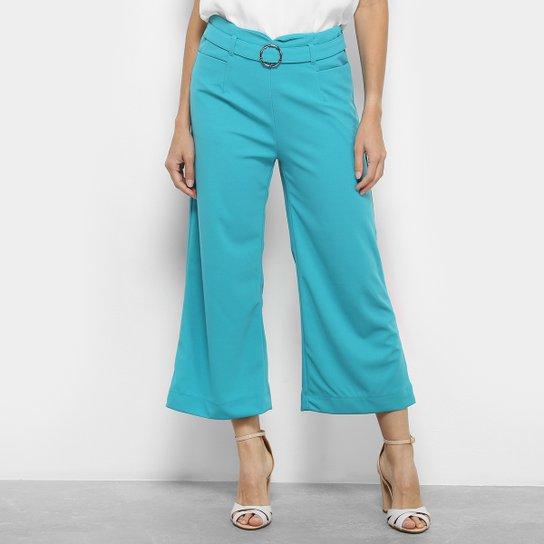 190ef0025 Calça Pantacourt Acrobat Fivela Cintura Média Feminina - Azul Turquesa