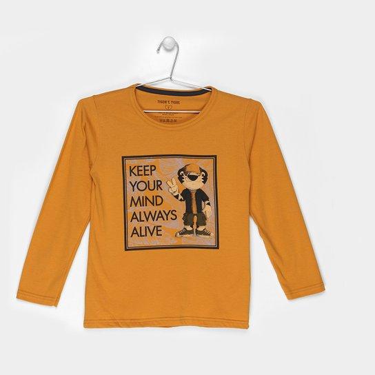 35f3cba9abfb3 Camiseta Infantil Tigor T. Tigre Estampada Manga Longa Masculina - Mostarda