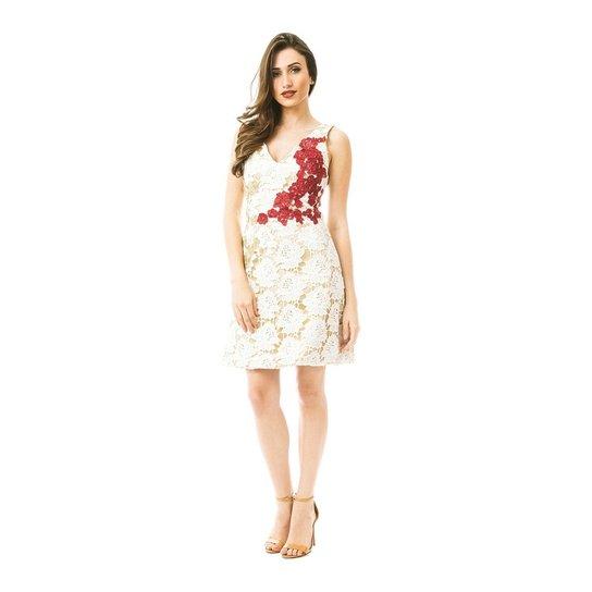 2e032563d Vestido Izad laise com apliques de renda em fios de lurex - Branco+Vermelho