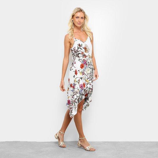 1f985ce44b Vestido Queens Assimétrico Curto Florido - Branco+Vermelho