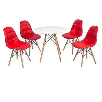 e7566f30c Conjunto Mesa Eiffel + 4 Cadeiras Dkr Charles Eames Wood Estofada Botonê