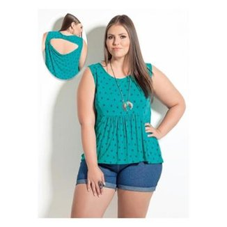 d264614cb8 Blusa Beline Plus Size Quintess Estampa Coqueiros