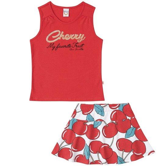 7f144074a5285 Conjunto Regata e Saia Shorts Infantil Feminino Boca Grande - Branco +Vermelho