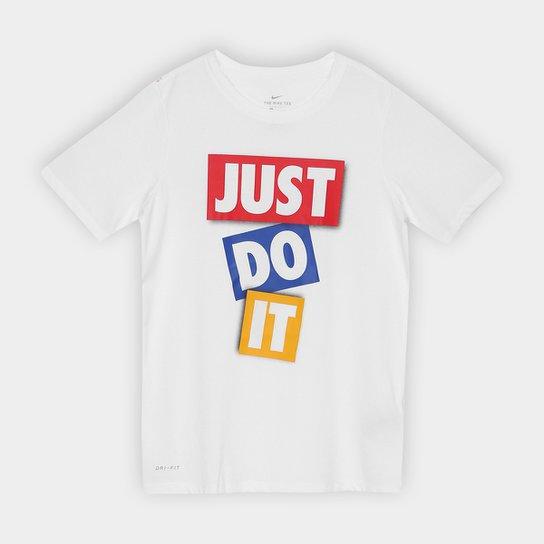 48d03276e3 Camiseta Infantil Nike B Dry Dfc Jdi Tape Masculina - Branco+Vermelho