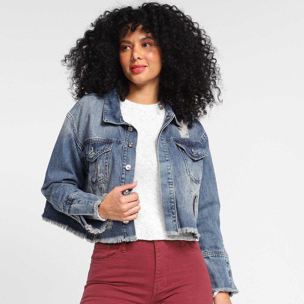 Jaqueta Jeans All Is Love Barra Desfiada Feminina