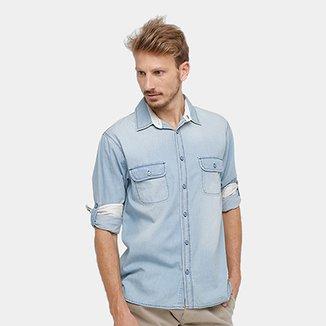 311ae35e8 Camisa Jeans Blue Baby Manga Longa Estonada Masculina