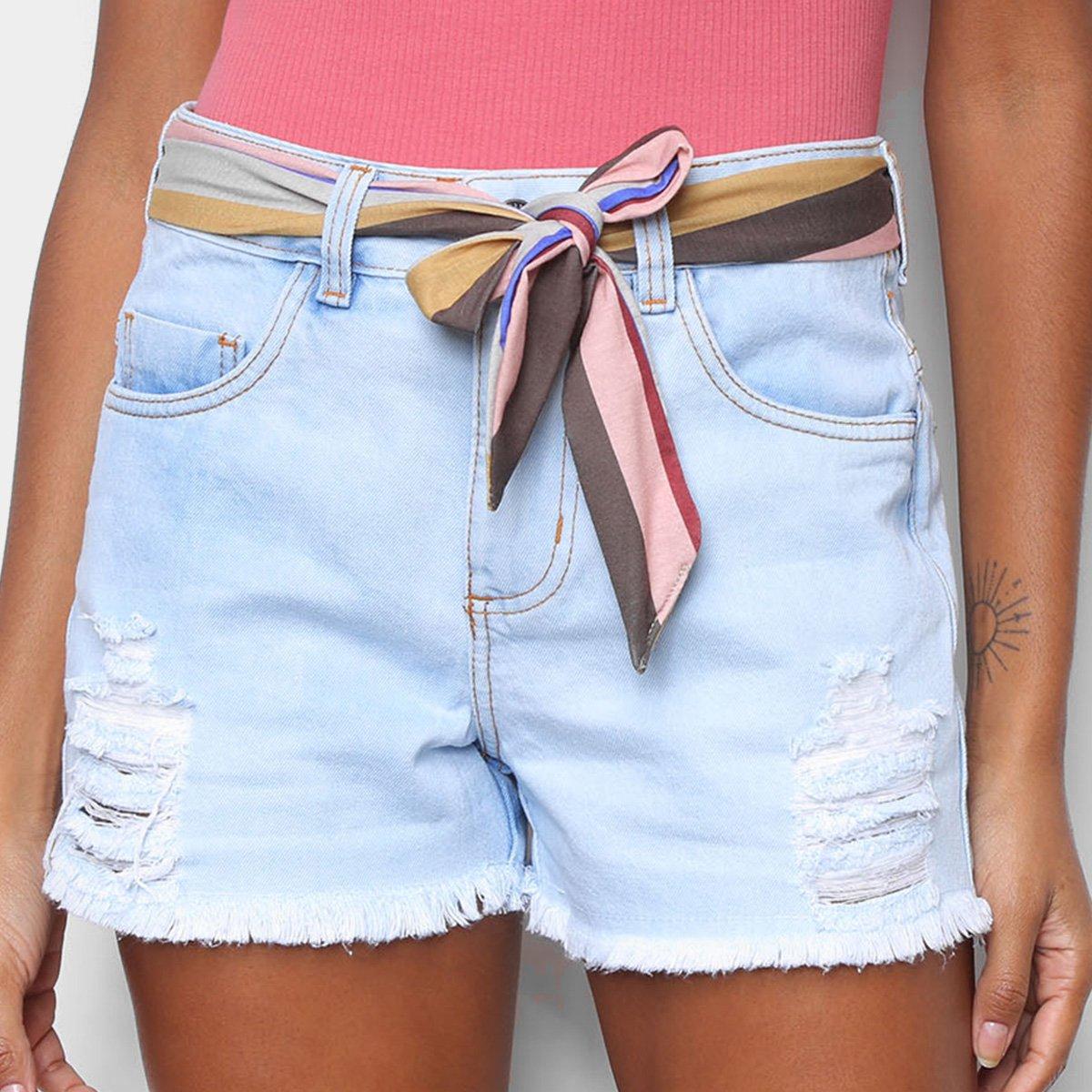 Short Jeans Hang Loose Ibiuna Sky Feminino