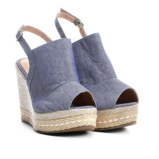 4aab5a6a3 Sandália Anabela Griffe Salto Alto Jeans Feminina - Azul Claro