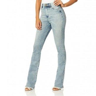 Calça Jeans Denim Zero Boot Cut Cintura Alta Desfiada 6f795e6be537a