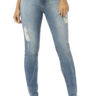 Calça Jeans Denim Zero Skinny Média com Rasgos 871cda9ec9fed