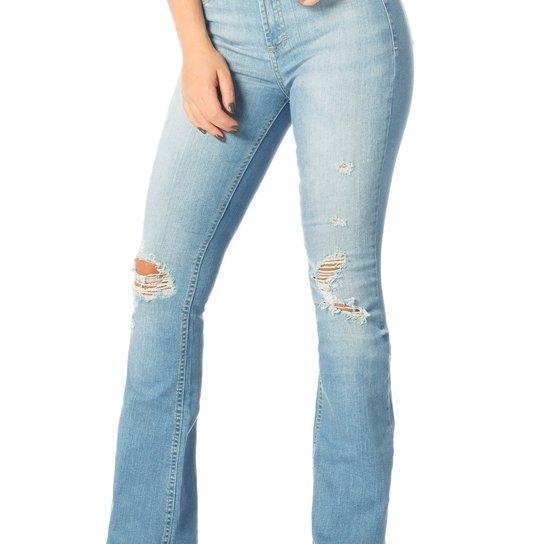6ab2edfdf5 Calça Jeans Denim Zero Flare Média Puídos - Jeans - Compre Agora ...