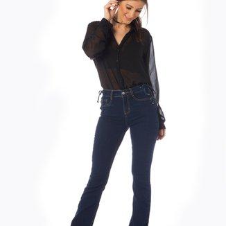 a348895a0 Calça Jeans Denim Zero Boot Cut Média Trançado Feminina