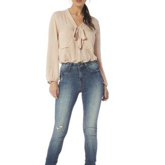 47fdec4b04988 Calça Jeans Denim Zero Skinny Média Estonada Feminina